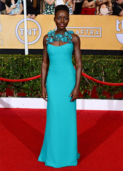 Lupita Nyong'o at the SAG Awards where was winner of the award for Outstanding Performance by a Female Actor for her role in '12 Years a Slave.'